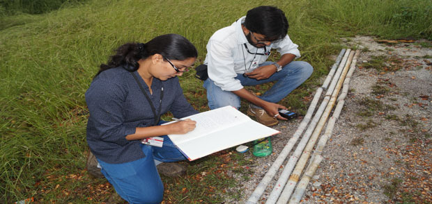 Examination of Core Samples by Geologists at Drill-Site